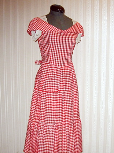 40s vintage red checked summer dress, anothertimevintageapparel.JPG