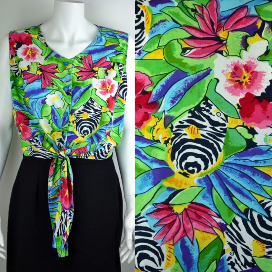80s tropical fish print tie top.jpg