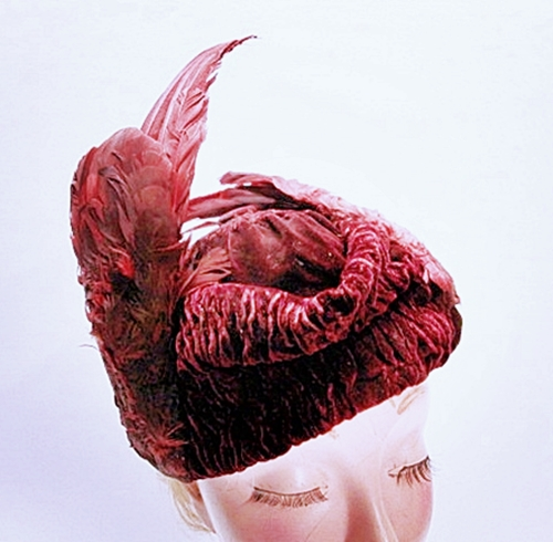 antique burg velvet hat with wings, anothertimevintageapparel.JPG