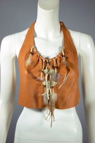 BL177-caramel leather halter top 1970s feathers trim XS S - 1.jpg