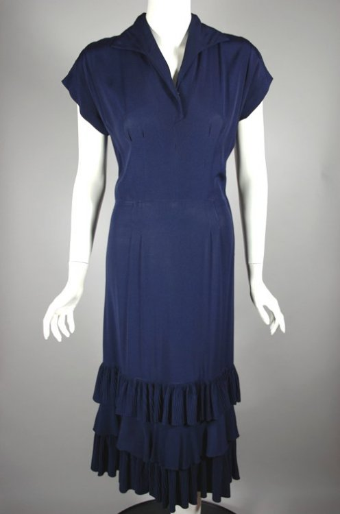 DR1175-pleated ruffles navy blue rayon 1940s 1950s dress - 5.jpg