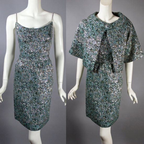 DR1260-aqua metallic brocade 1960s mini cocktail dress jacket 2 views.jpg