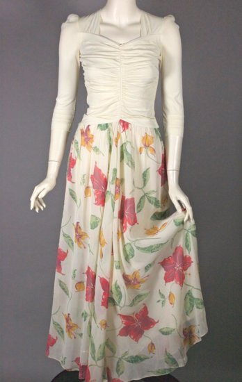DR1320-XXS 1940s dress evening gown tropical floral ivory - 04.jpg
