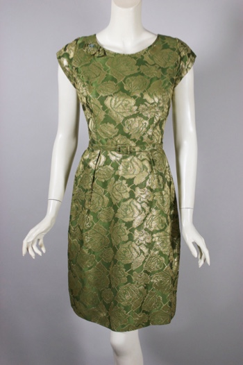 DR1358-gold green metallic brocade 1960s cocktail party dress - 1.jpg