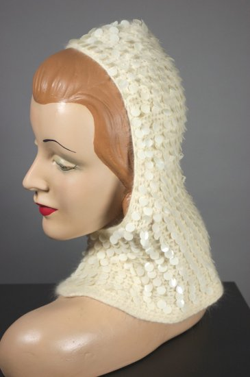 LH411-ivory angora 1950s hood hat winter sequins paillettes - 2.jpg