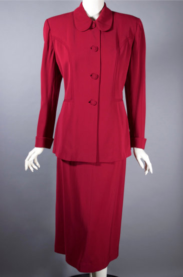 LST120-late 1940s gabardine skirt suit red cranberry  - 07.jpg