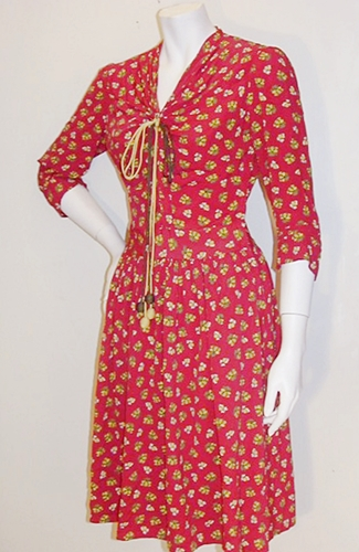 red print 40s dress,anothertimevintageapparel.JPG